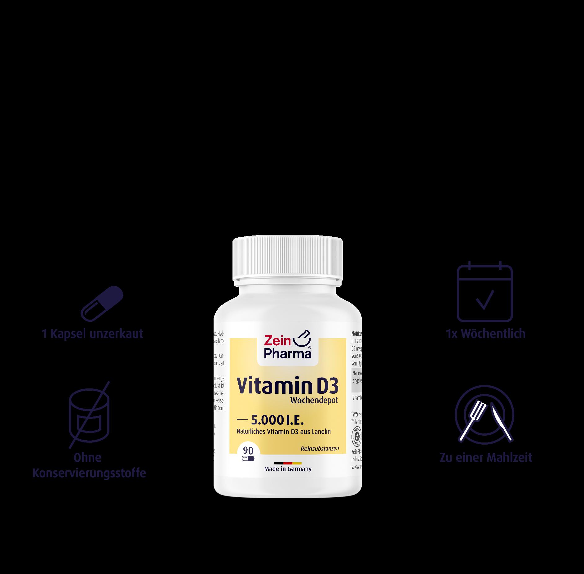 Vitamin D3 Wochendepot Kapseln 5.000 I.E.