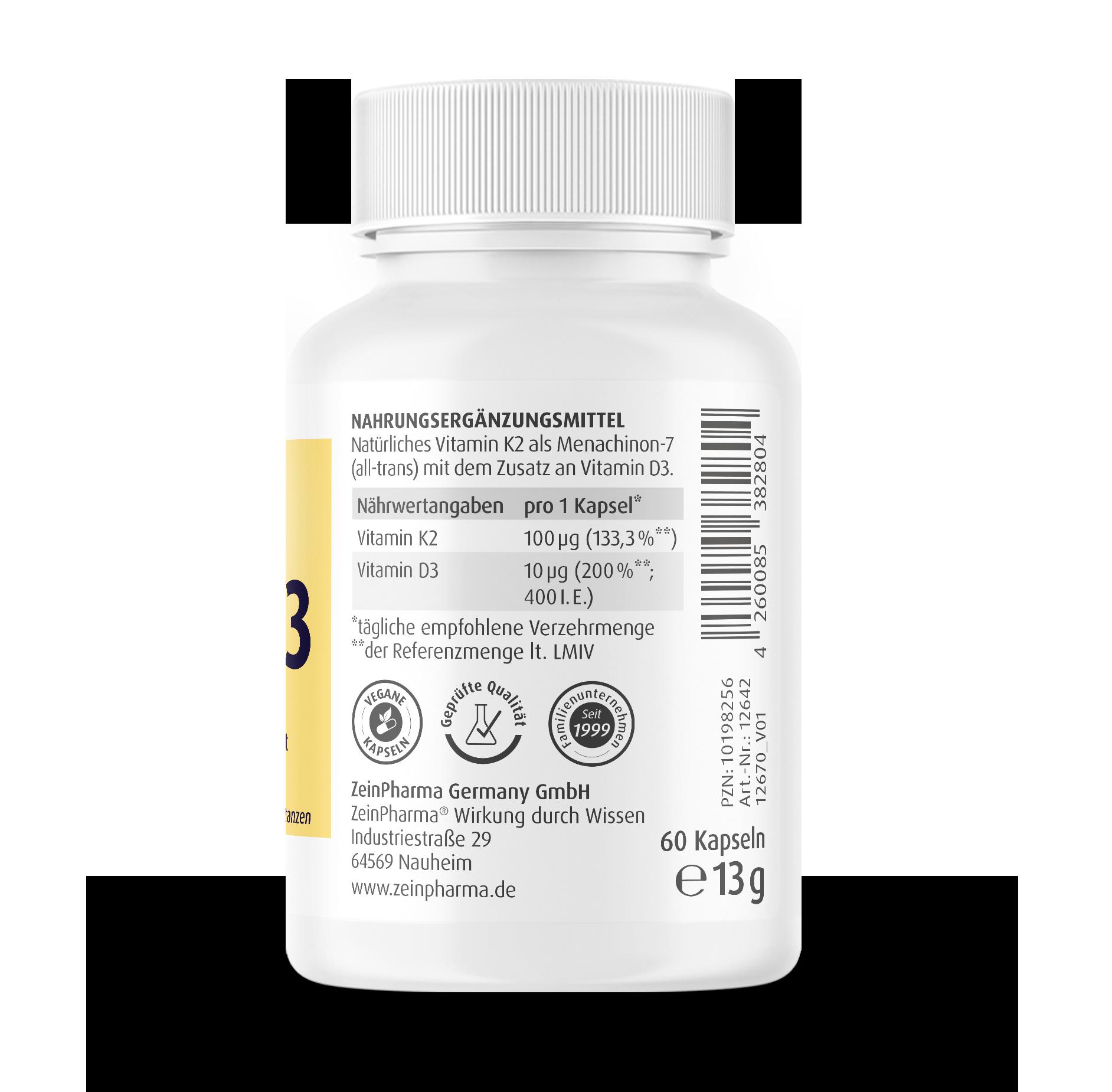 Vitamin K2 100 µg + D3 400 I.E. Kapseln